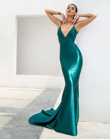 Green Deep V-Neck Open Back Slim Flash Material Maxi Dress