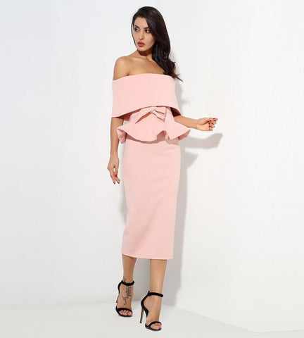 Sleeveless Pink Word Collar Two-Pieces Belt Set