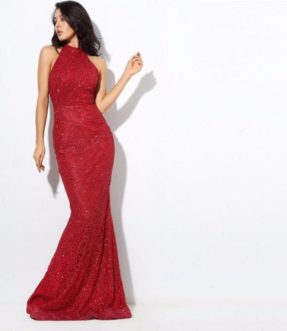 Red Flower Rattan Beads Dew Slim Fish Tail Long Dress