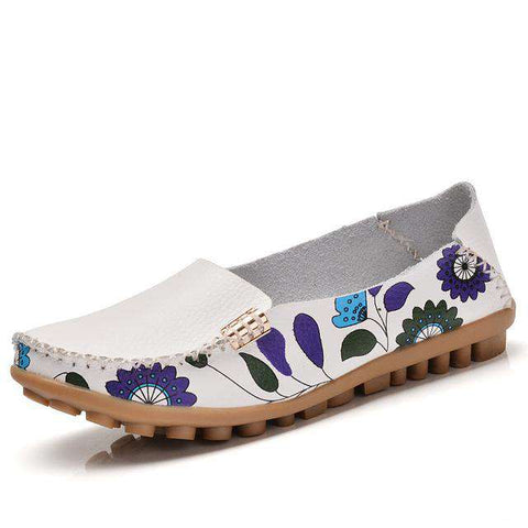 Soft Leather Floral Printed Loafers Slip On Flat Shoes
