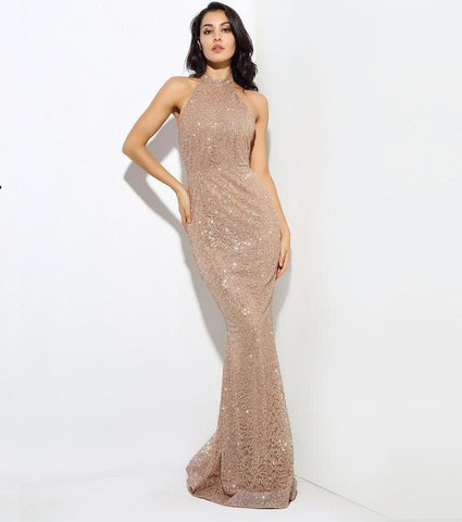 Gold Flower Vine Sticks Dew Long Dress
