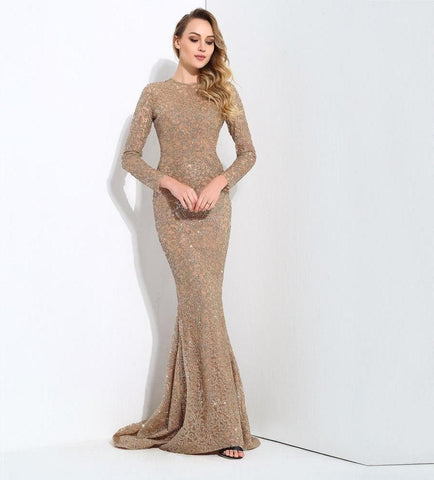 Gold Flower Vine Tail Shape Glitter Long Dress