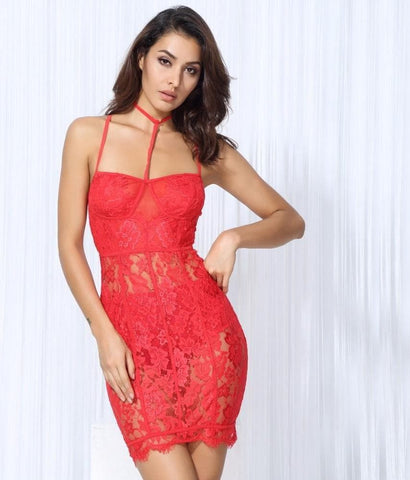 Red Lace And Mesh Stitching Slim Party Dress