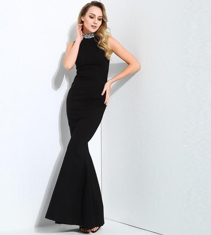 Black Collar Beaded Decoration Slim Tail Shape Long Dress