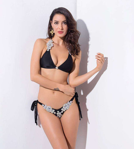 Black Square Diamond Ornament Decoration Two-Pieces Beach Bikini Sets Swimwear