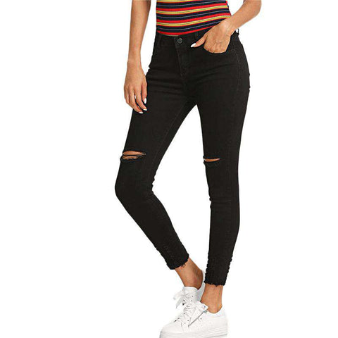 Knee Ripped Hem Skinny Black Rock Button Fly Denim Pants Crop Pocket Pencil Jeans