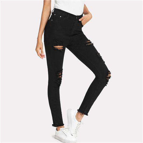 Elastic Hole Ripped Mid Waist Stretchy Denim Skinny Pencil Jeans