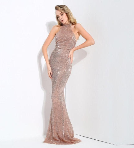 Collar Open Back Fold Elastic Sequins Long Dress