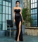 Black Bra Open Back Pleated Sequins Slim Long Dress