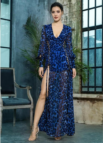 Deep V-Neck Blue Leopard Chiffon Long Dress