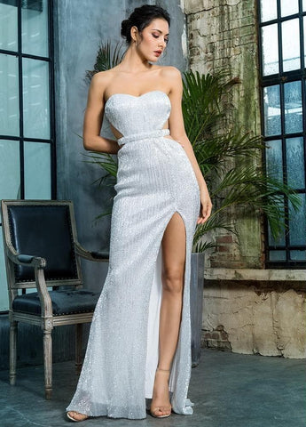 Silver Bra Open Back Pleated Sequins Slim Party Long Dress