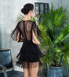 Black Round Neck Lace Fringed Decorative Dot Mesh Dress