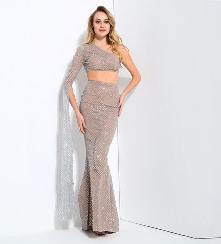 Silver Nude Shoulder Horn Sleeve High Waist Two-Piece Set