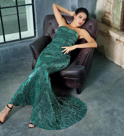 Green Tube Top Slim Elastic Sequin Long Dress