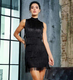Black Side Cut Out Tassel Decoration Slim Dress