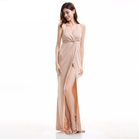 V Neck Cross Halter Long Dress