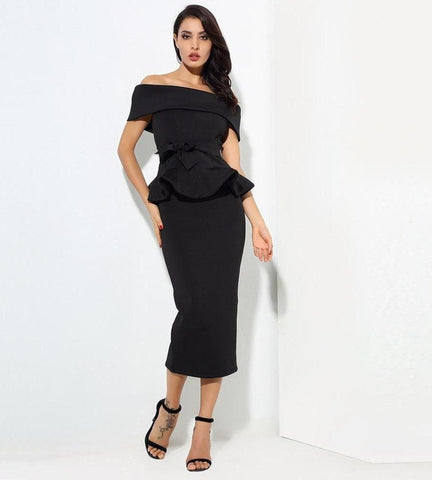 Black Word Collar Two-Pieces Belt Sets Dress