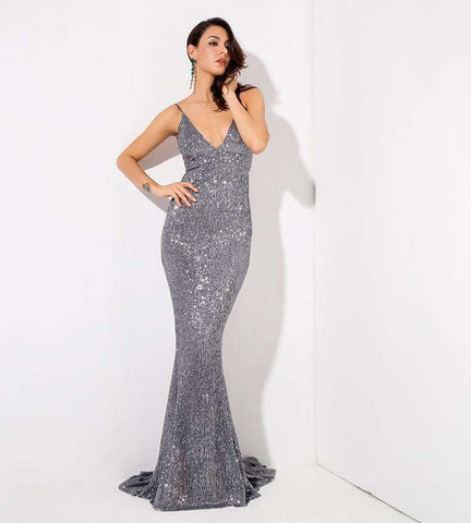 Grey Deep V-Neck Open Back Elastic Sequin Long Dress Gown