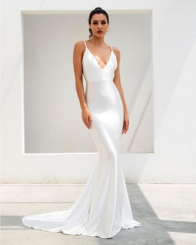 White Deep V-Neck Open Back Slim Long Dress