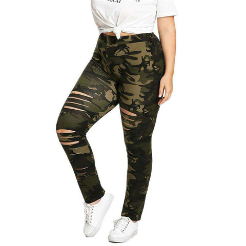Camouflage Ladder Ripped Legging Sweatpants