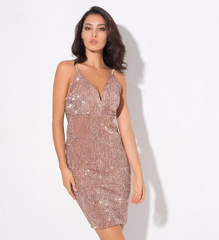 Deep V-Neck Rose Gold Elastic Sequins Halter Dress