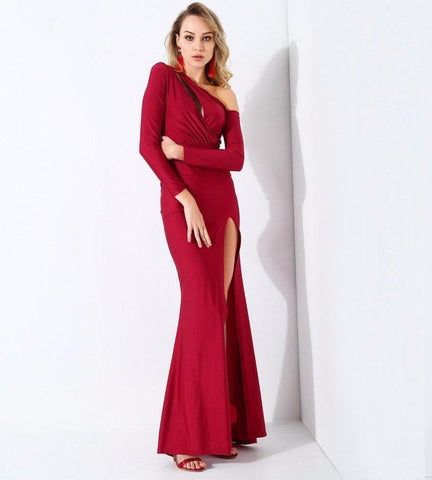 Wine Red Cut Out Shoulder Long Sleeve Long Dress