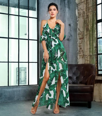 V-neck Cut Out Green Leaf Print Fit Chiffon Jumpsuit