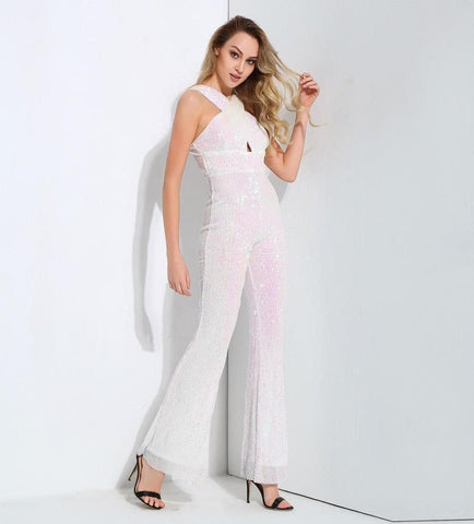 Cut Out White Elastic Sequins Slim Trumpet Style Jumpsuit