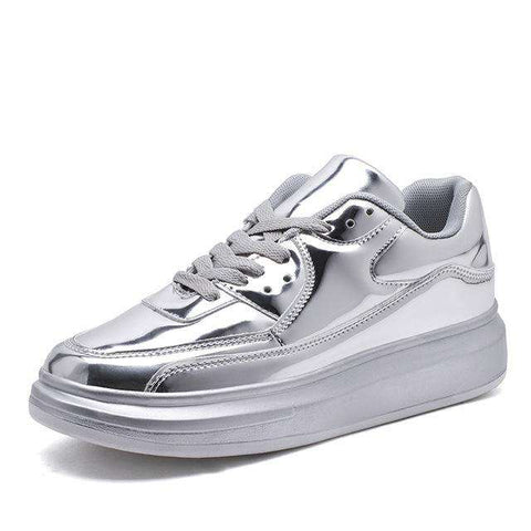 PU Bling Shinny Sliver Sneakers Shoes