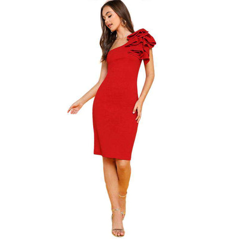 One Shoulder Ruffle Red Sleeveless Knee Length Skinny Pencil Midi Dress