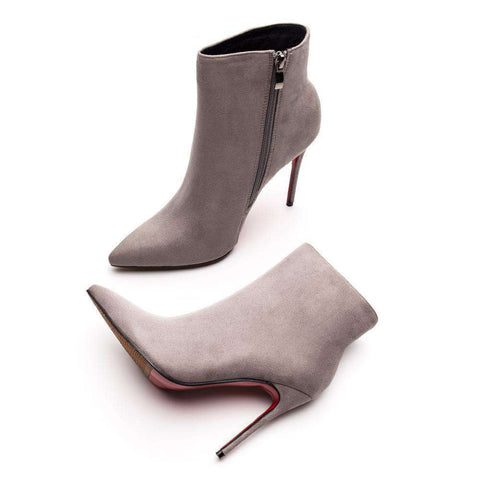 Red Bottom High Heels Grey Suede Zipper Pointed Toe Ankle Boots