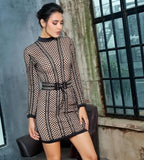 Black Mesh And Metal Chain Stitching Removable Belt Party Dress