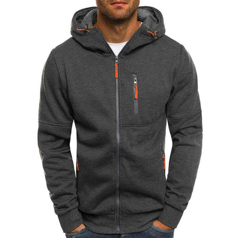 Zipper Hip Hop Winter Hoodie Slim Sweatshirt