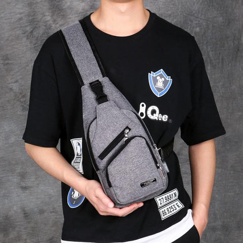 Unisex Chest Bag With Headphone Hole Anti-theft Sling Bag