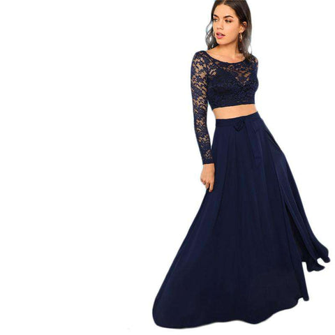 Blue Crop Lace Round Neck Long Sleeve Top And Knot Maxi Skirt Two Piece