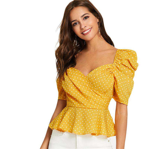 YellowBohemian Backless Polka Dot Short Sleeve Wrap Front Top Blouses