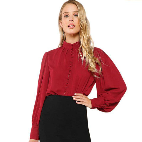 Burgundy Bishop Long Sleeve Button Up Stand Collar Top Blouse