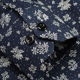 Floral Printed Luxury Turn-down Collar Single Breasted Long Sleeve Button Down Slim Fit Shirt