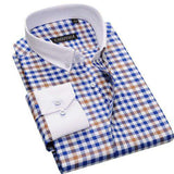 Turn-down Collar Single Breasted Long Sleeve Contrast Plaid Shirt