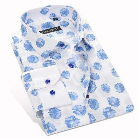 Designer Floral Printed 100% Cotton Turn-down Collar Single Breasted Long Sleeve Shirt