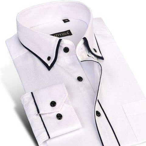 Turn-down Collar Single Breasted Long Sleeve Double Layer Slim Fit Shirt