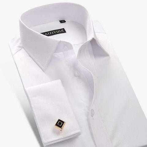 High Quality Long Sleeve French Cuff White Shirt With Cufflinks