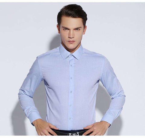 100% Cotton Single Breasted Turn-down Collar Long Sleeve Shirt