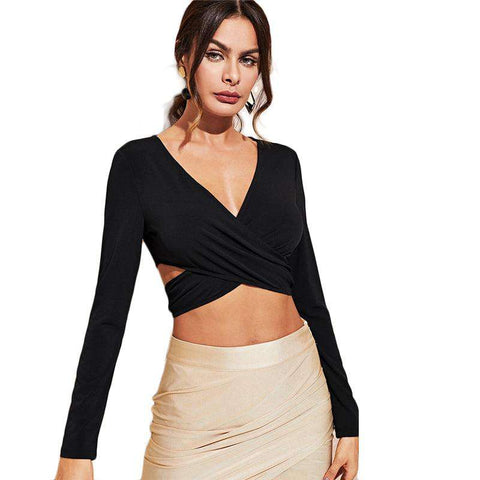Black V Neck Criss Cross Wrap Slim Party Blouse Crop Tops