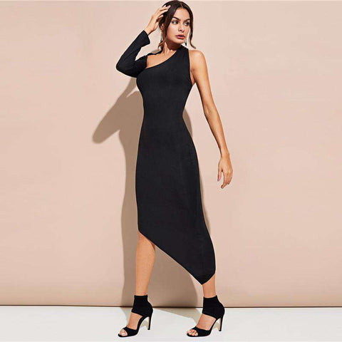 Black Asymmetric Shoulder Hem Fitted Stretchy Dress