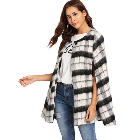 Plaid Black and White Cape Button Front Faux Fur Cloak Sleeve Coats