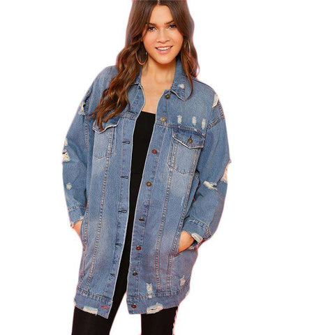 Blue Rock Patched Buttoned Ripped Long Denim Jacket