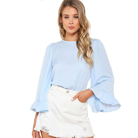 Blue Flare Long Sleeve Minimalist Blouse Top