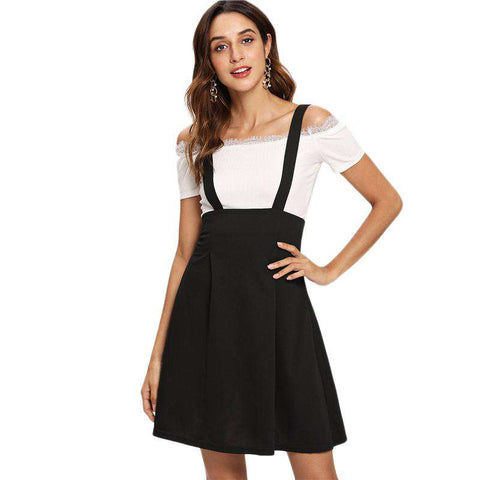 Black Zip Back Flare Pinafore High Waist Knee Length Zipper Button Skirt