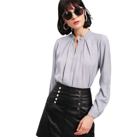 Metal Button Front Grey Chiffon Stand Collar Long Sleeve Shirt Top Blouse